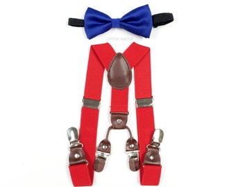baby boy clothes, blue bowtie, red suspenders, double clip suspenders, boys suspenders, blue bow tie, double suspenders, blue and red set