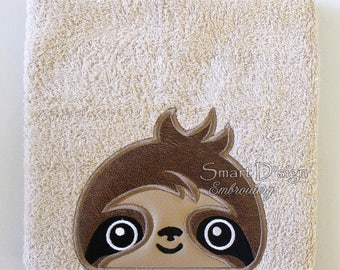ITH Peeker Machine Embroidery Design In The Hoop Applique Sloth - 5x7 inch Hooded Towel Children Toddler Cute Animal Motif Nursery