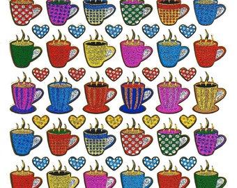 Coffee cups stickers scrapbooking Board 13 cm x 10 cm