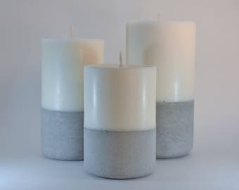 Set of Three Soy Wax Pillar Candles with Concrete Base - Unscented