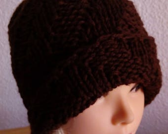 Hand knit hat Oversized Chunky Wool Hat brown, hat slouchy hat brown, cable hat Superwash Wool