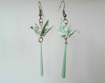 JUNGLE ORIGAMI crane earrings