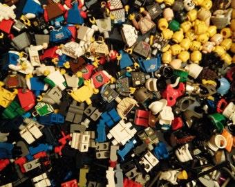 Bulk Lego Lot of 100 + Mini Figure Parts and Accessories, Creates 25 Mini Figures