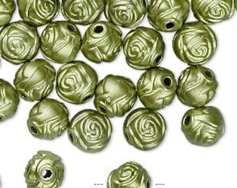 100pcs Acrylic Beads 8mm Flower Rose Metallic Green