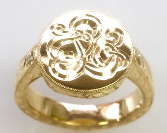 Personalized Womens Hand Engraved Vine and Leaf Signet Ring with Diamonds