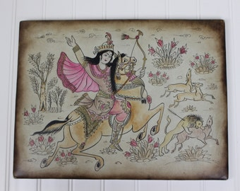 Hand Painted Indian Illustration on Mounted Vinyl