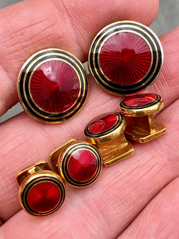 Gilt Sterling Silver and Red and Black Enamel English Cufflinks