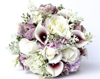 PURPLE WEDDING BOUQUET- Purple Wedding Bridal Bouquet , Real to Touch Peonies Bridal Bouquet, Purple and mint bouquet