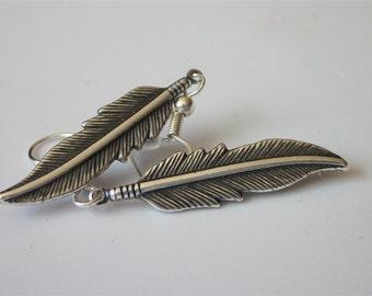 Silver Feather Earrings, Metal Feather, Unisex Jewelry, Mens Silver Dangle Earrings, Tribal Drop, Mens Brass Dangle