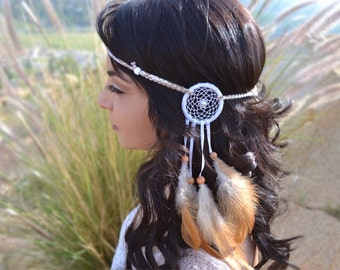 Unique White and Cream Dreamcatcher Feather Headband - Natural Feathers - Tribal - Native American - Indian - Festivals