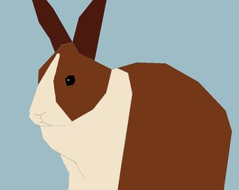 Dutch  Rabbit paper-piecing pattern, PDF