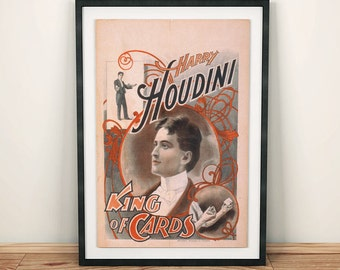 Harry Houdini Magic Magician King of Cards Poster
