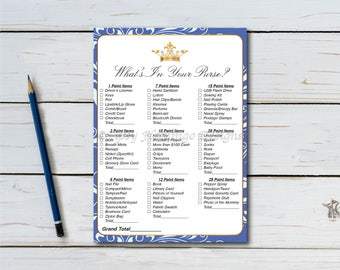 What's In Your Purse, Baby Shower Game, Shower Game, Crown, Royal, Princess, Blue, Swirl Pattern, Printable, Instant Download T03B