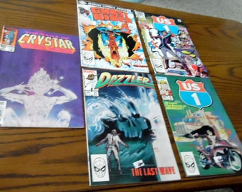 Group of 5 1980s Marvel comic books, as shown, comic books, Marvel Comic books, US 1, Crystar, Dizzler, Ghost Rider, 1980s comics