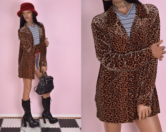 90s Leopard Print Velvet Top/ 1X/ 1990s/ Long Sleeve/ Button Down