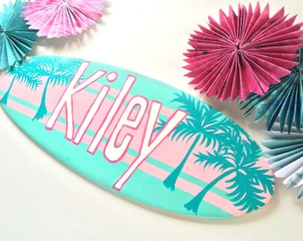Surfboard Wall Art - Personalized Surf Decorations for your Girls Room Decor