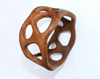 Wooden bracelet, Wooden bangle, oak.