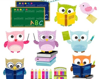 ON SALE school owl clipart -  owls clip art, Digital clipart, Back to school clipart, classroom clip art, study:, education