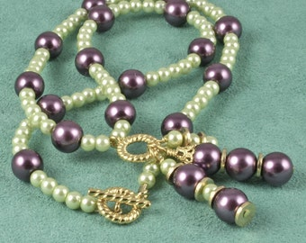 Purple and Green Glass Pearl Necklace - Cheerful