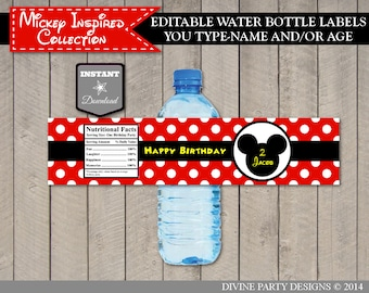 INSTANT DOWNLOAD Mouse Editable Water Bottle Labels / You Type Name & Age /  Classic Mouse Collection / Item #1547