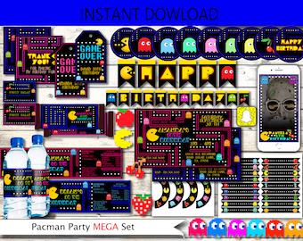 Pac-man,pacman,pacman invitation,Pac-Man party,pac-man invitation,arcade game party,game birthday,printable invitation,pacman arcade party