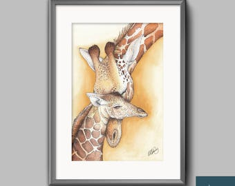Mother Giraffe and her Calf, Watercolour and Ink A4 Giclee, Wallart Print