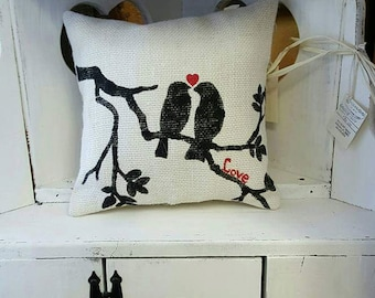 Hand painted Bird pillow