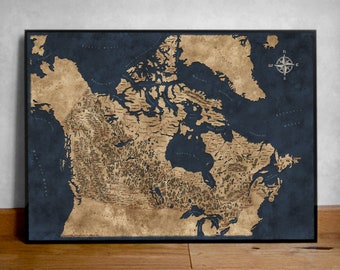Fantasy style illustrated map of Canada, Canada Map Art, Wall map Canada, Canada Map Poster, Map Print Canada, Canadian Map, Fantasy gift