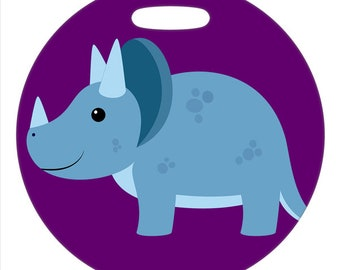 Triceratops - 4 Inch or 2.5 Inch Round Plastic Bag Tag