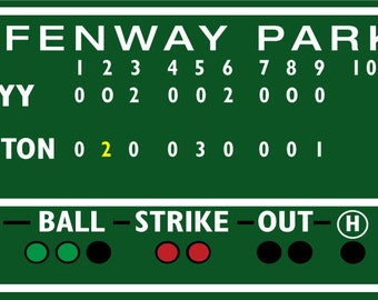 2.5 x 5.5 foot Boston Red Sox decor, commemorate the clinching Game 6 Fenway Park, Green Monster score board