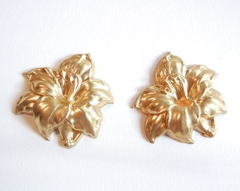 2 Brass Lily Stampings