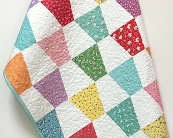 Baby Girl Quilt 1930's reproduction prints Handmade Checkerboard Tumbler Crib Quilt Bedding Nursery Bedding-Old Fashion Charm