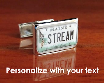 Maine License Plate Personalized Cufflinks by PL8LINKS