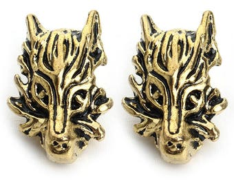 Pearl antique gold Wolf - 12mm x 19mm animal Charms - Wolf head spacer beads