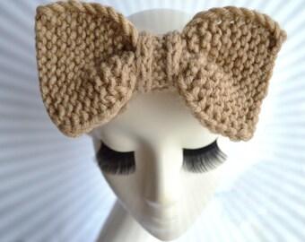 Knit beige headband women wool big bow headband adult women knit ear warmer headwrap boho turban headband hair band women beige headwear