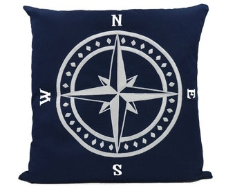 """New Fabric - Compass - Nautical Embroidered Pillow Cover - Fits 18""""x18"""" Insert - Navy - Beach / Coastal / Nursery Decor (READY TO SHIP)"""