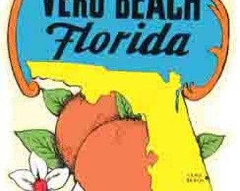 Vintage Style Vero Beach map Florida FL  Travel Decal sticker