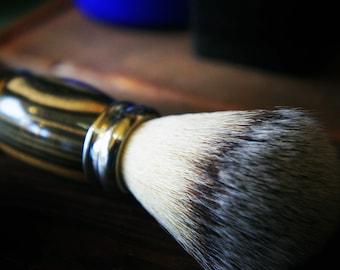 Shaving Brush in black and white ebony wood Uber Soft II synthetic silver tip brush.
