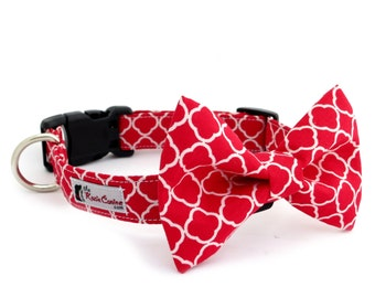 Red and White Dog Collar (Dog Collar Only - Matching Bow Tie Available Separately)