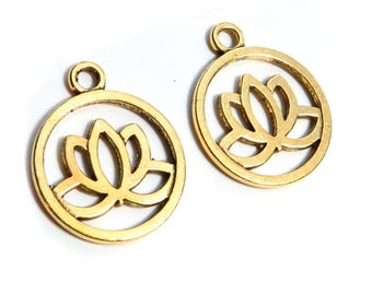 10 Pcs Gold Lotus Leaf Pendants / Charms