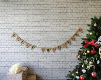 JOLLY CHRISTMAS Burlap Banner Bunting Burlap Flags Pendants  Snowflake Noel Vintage decor