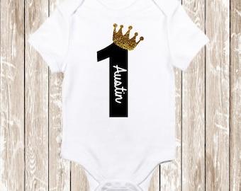 Baby boy first birthday shirt/ Boys birthday shirt / Boys Black and Gold Birthday Shirt/ Wild one Birthday  bodysuit