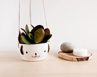 Ceramic hanging planter with a cute dog face, Cute face plant pot, Kawaii planter flower pot, Hanging dog planters, Cute ceramic planter