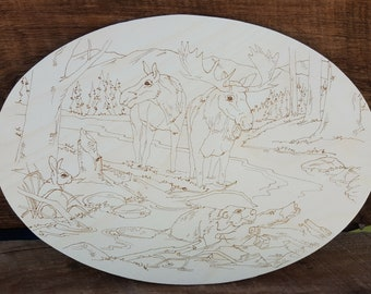 Color Your Own Moose Woodland Scene
