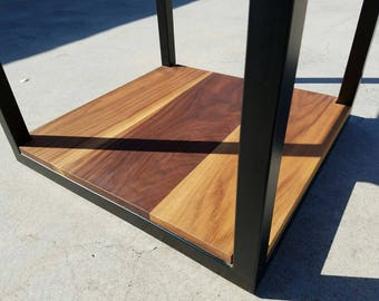 Steel & Walnt side table
