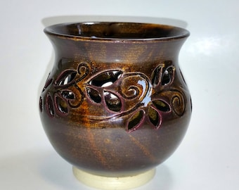 Dark Amber Votive Candle Holder or Luminary with Leaf Sprigs- Wheel Thrown and Altered Pottery
