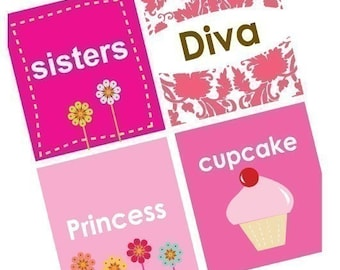 Diva Girly Sayings - (1x1) One Inch (25mm) Pendant Images - Digital Sheet - Buy 2 Get 1 Free - Instant Download- Printable Image Collage