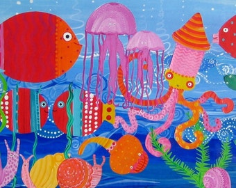 Squid and Friends 12 X 26 Print