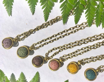Minimalist Lava Rock Essential Oil Diffuser Necklace by SoulSeedWraps, Aromatherapy Lava Rock Necklace, Diffuser Necklace Lava Stone