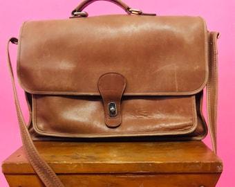 Vintage Leather Messenger Bag/ Camel Laptop Bag